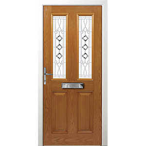 Wickes Malton Composite Door Oak 2 Panel 2100X880mm Right Opening