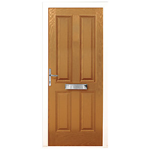 Wickes London Composite Door Oak 4 Panel 2100X840mm Right Opening