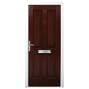 Wickes London Composite Door Rosewood 4 Panel 2100X840mm Right Opening
