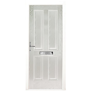 Wickes London Composite Door White 4 Panel 2100 x 880mm Right Opening