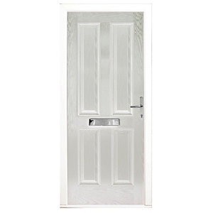 Wickes London Composite Door White 4 Panel 2100X920mm Left Opening