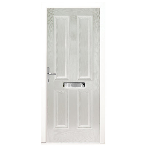 Wickes London Composite Door White 4 Panel 2100X920mm Right Opening