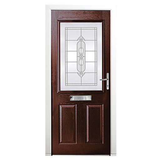 Wickes Avon Composite Door Black 2 Panel 2100X840mm Left Opening
