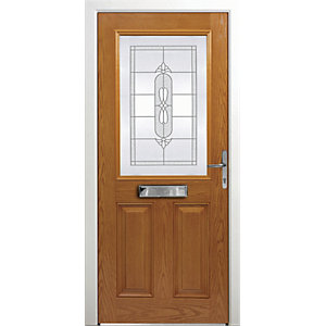 Wickes Avon Composite Door Oak 2 Panel 2100X880mm Left Opening
