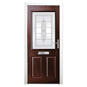 Wickes Avon Composite Door Rosewood 2 Panel 2100 x 880mm Left Opening