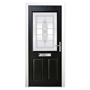 Wickes Avon Composite Door Black 2 Panel 2085x880mm Left Opening
