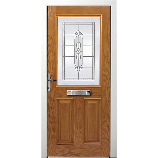 Wickes Avon Composite Door Oak 2 Panel 2085x880mm Right Opening
