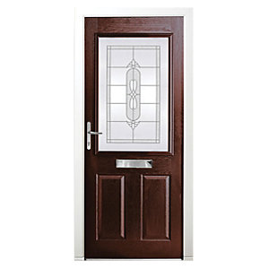 Wickes Avon Composite Door Rosewood 2 Panel 2100X880mm Right Opening