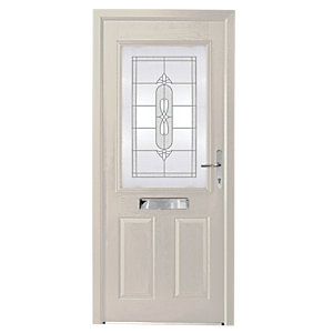 Wickes Avon Composite Door White 2 Panel 2100X920mm Left Opening