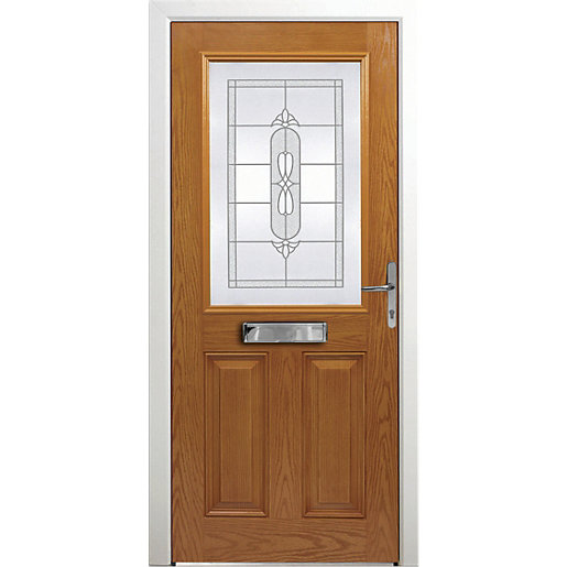 Wickes Avon Composite Door Oak 2 Panel 2100X920mm Left Opening