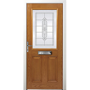 Wickes Avon Composite Door Oak 2 Panel 2100 x 920mm Right Opening