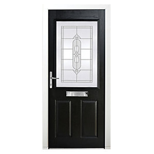 Wickes Avon Composite Door Black 2 Panel 2085x920mm Right Opening