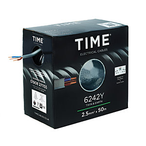 Time 2.5mm Twin & Earth Cable Grey 6242Y 50M
