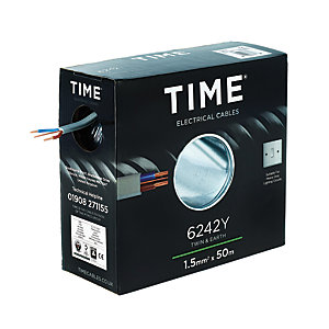 Time 1.5mm2 Twin & Earth Cable Grey 6242Y 50M