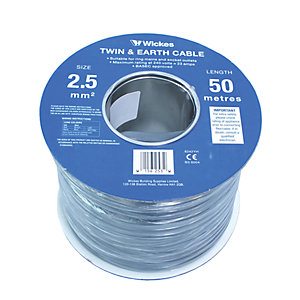 Wickes Twin and Earth Cable 2.5mm x 50m 6242YH