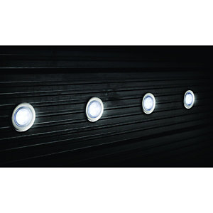 Wickes White LED Deck Lights Extension Kit 45mm 4 Pack