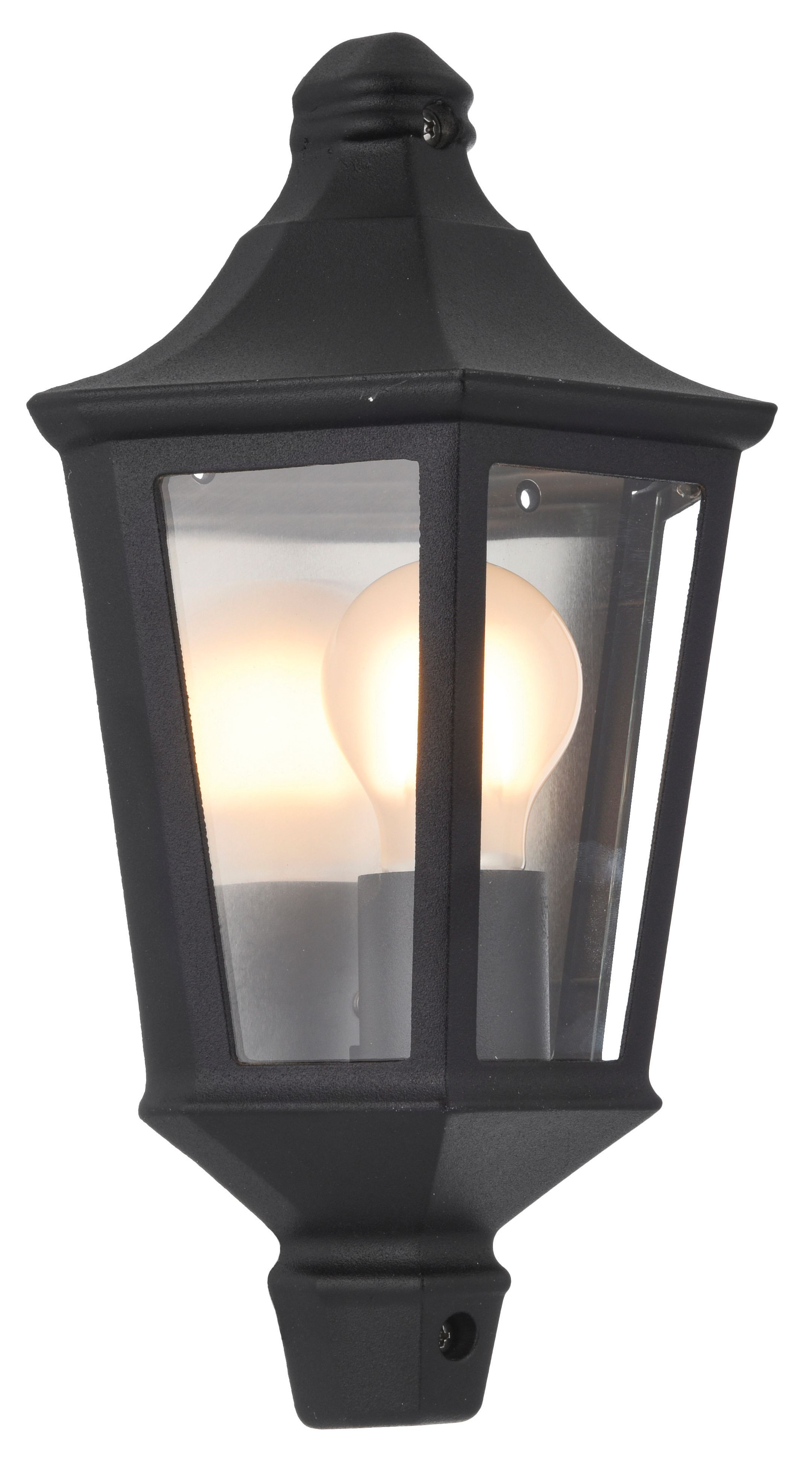Outside Wall Lights Wickes : Wickes 60W Naples Half Lantern Black Wickes.co.uk