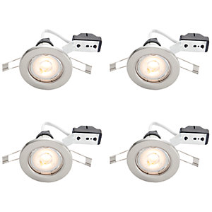 Wickes LED Downlights Brushed Chrome Finish 4 Pack