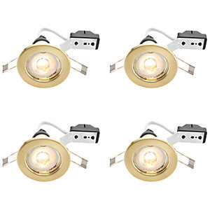 Wickes LED Downlights Brass 4 Pack