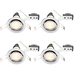 Wickes LED Tilt Downlights Chrome Finish 4 Pack