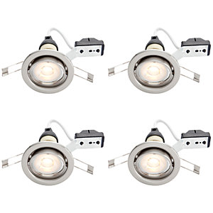 Wickes LED Tilt Downlights Brushed Chrome Finish 4 Pack