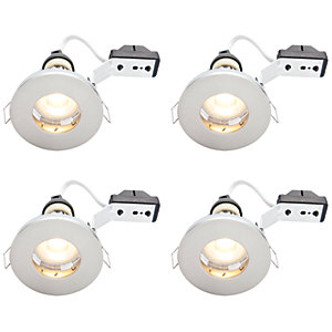 Wickes LED IP65 Downlights Brushed Chrome Finish 4 Pack