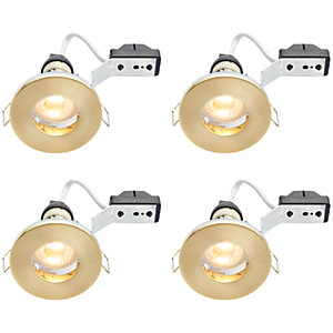 Wickes LED IP65 Downlights Brass 4 Pack