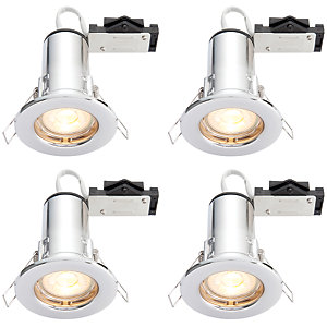 Wickes LED Fire Rated Downlights Chrome Finish 4 Pack
