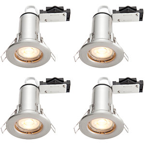 Wickes LED Fire Rated Downlights Brushed Chrome Finish 4 Pack
