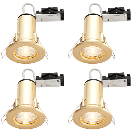 wickes led fire rated downlights brass 4 pack. Black Bedroom Furniture Sets. Home Design Ideas