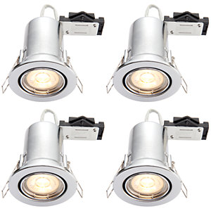 Wickes LED Fire Rated Tilt Downlights Chrome Finish 4 Pack
