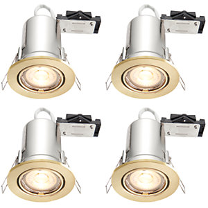 Wickes LED Fire Rated Tilt Downlights Brushed Gold Effect 4 Pack