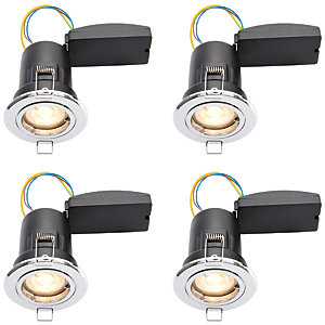 Wickes LED Premium Fire Rated Downlights Chrome Finish 4 Pack
