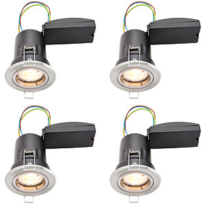 Wickes LED Premium Fire Rated Downlights Brushed Chrome Finish 4 Pack