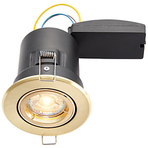 Wickes LED Premium Fire Rated Tilt Downlight Brushed Gold Effect