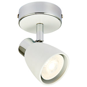 Wickes Major LED Single Spotlight Matt White & Chrome