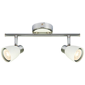 Wickes Major LED 2 Bar Spotlight Matt White & Chrome