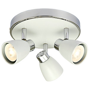Wickes Major LED Triple Plate Spotlight Matt White & Chrome