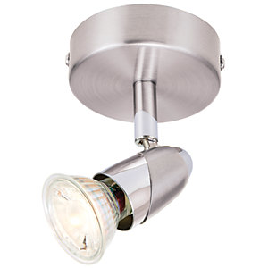 Wickes Bullet LED Single Spotlight Brushed & Polished Chrome