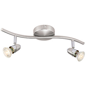 Wickes Bullet LED 2 Bar Spotlight Brushed & Polished Chrome