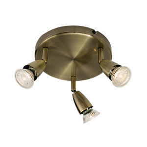 Wickes Positano LED Triple Plate Spotlight Antique Brass