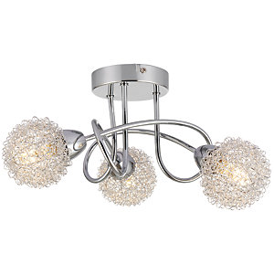 Wickes Totas LED 3 Bar Spotlight Brushed & Polished Chrome