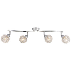 Wickes Totas LED 4 Bar Spotlight Brushed & Polished Chrome