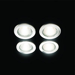 Wickes Fixed Downlight Brushed Chrome 4 Pack