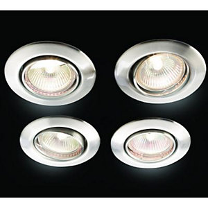 Wickes Halogen Tilt Downlight Brushed Chrome 4 Pack