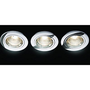 Wickes Fire Rated Fixed Downlight Chrome 3 Pack