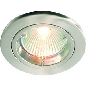 Wickes Fire Rated Fixed Downlight Brushed Chrome 3 Pack