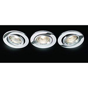 Wickes Fire Rated Tilt Downlight Chrome 3 Pack