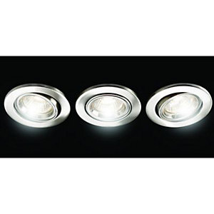 Wickes Fire Rated Tilt Downlight Brushed Chrome 3 Pack