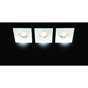 Wickes Keswick Fixed Square Bathroom Downlight White 3 Pack